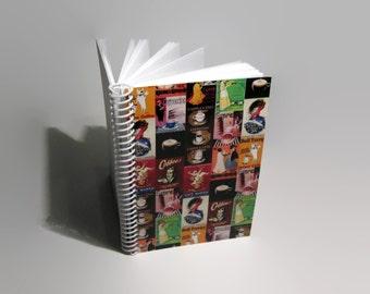 Italian Coffee, Blank Recipe Book, Spiral Notebook, Pocket Notebook, A6 Notebook, Blank Sketchbook, Writing Journal, Paper Notebook