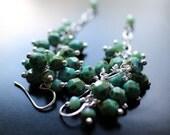 Turquoise Glass Bead Cluster Earrings, Fire Polish Glass Beaded Dangle Earrings, Sterling Silver Ear Wires, Long Dangle Earrings, Gift Box