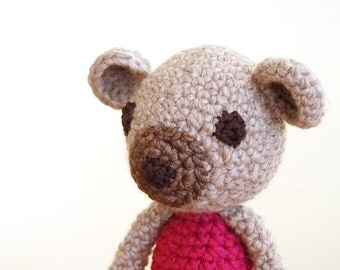 Teddy Bear, Knitted Teddy Bear, Handmade Bear, Baby Gift, Baby Shower Gift, Newborn Gift, Knitted Animals, Pink Bear, Toddler Gift