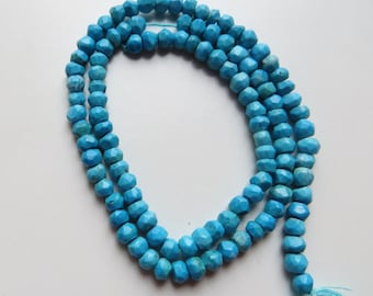 3mm Faceted Turquoise Rondelle Beads - One Full Strand