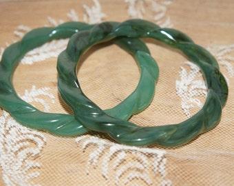 vintage green  Lucite bangle bracelets