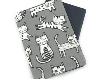 Cats on Grey Passport Cover, Passport Holder, Passport Wallet, Passport Case, Travel Gift