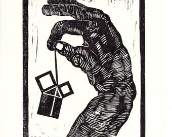 hand  linocut, Pythagoras #1, 7.25 x 9.25, off-white rice paper