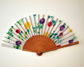 Hand fan Handpainted Silk-Abanico-Wedding gift-Giveaways-Bridesmaids-Spanish hand fan with flowers