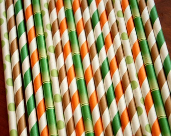 Jungle Straws, Brown Party, Green Birthday, Orange Drinking, Bamboo Paper, Safari Birthday, Boy Shower, African Wedding, Tribal reception