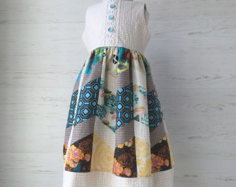 Chevron Patchwork Dress in Taupe, Turquoise and Gold, size 4 ONLY, one of a kind
