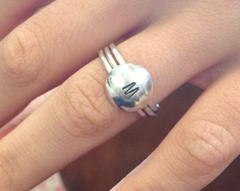 Initial stacking ring Sterling Silver