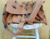 Large Messenger Bag - Dragonflies - Adjustable Strap - Pockets - Key Fob - 6 pockets
