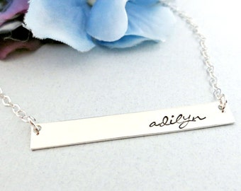 Sterling Silver Bar Necklace - Personalized Name Plate Necklace - Custom Name Bar Necklace - Retangle Bar Necklace - Hand Stamped Jewelry