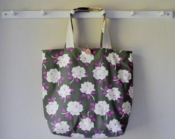 Roll Up Market Bag - Vintage Rose in Charcoal