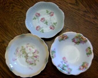 3 Vintage Small Fruit Bowls Bavaria Germany Japan Rose Pinks Greens