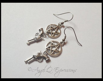 The Original Something Winchester This Way Comes Protection Pentagram with Demon Colt Earrings