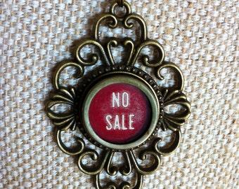Cash register key necklace   NO SALE key   vintage red coloured typewriter key   bronze tone pendant