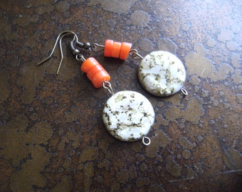 Marble Sunset Mother of Pearl and Glass Antique Brass Dangle earrings