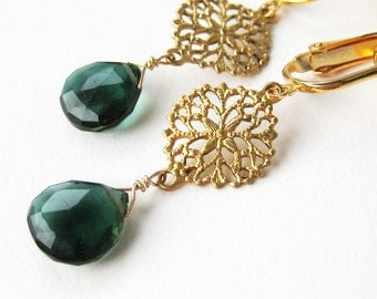 Forest Green Quartz Clip Earrings, Brass Filigree Clip On Earrings, Gold Ear Clips, Dark Emerald Green Faceted Teardrops, Handmade, Gail
