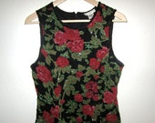 Beaded Top with Roses Floral Design By Paradise NY - Vintage 1980's - Fits size SMALL (label size Large) 36 inch bust