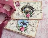 Bird Nest Tags - Vintage Bird Nest Tags - French Postcard Tags, Carte Postale Tags, Springtime tags - Set of 4 (2 of each design)