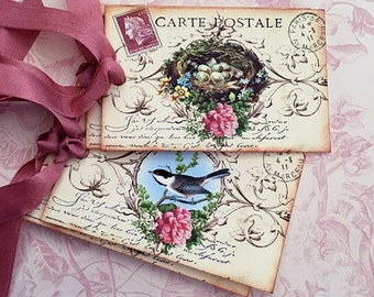 Bird Nest Tags - Vintage Bird Nest Tags - French Postcard Tags, Carte Postale Tags, Springtime tags - Set of 4 (2 of each design)