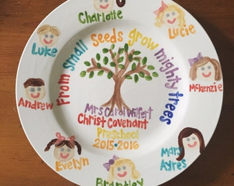 Teacher gift // Dinner Plate Personalized and customized with Class Faces // from small seeds grow mighty trees
