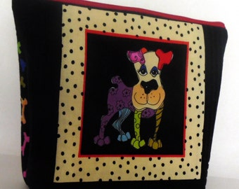 Dog Themed Cosmetic Bag, Dog Themed Make up Bag, Purse Organizer, Dog Leash Holder, Pet Lover Gift