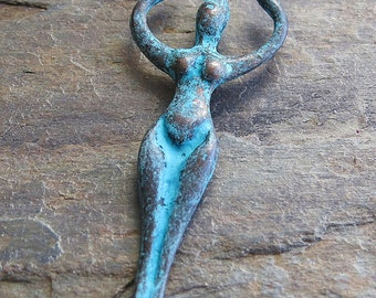 Goddess 50mm Mykonos Green Patina Greek Casting :  1 pc Metal Goddess Pendant