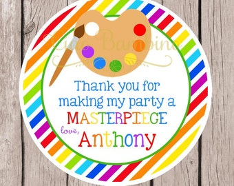 Art Birthday Party Favor Tags or Stickers / Painting, Pottery, Craft  Party / Primary Colors for Boys and Girls / Set of 12 Tags