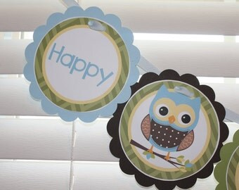 OWL Birthday Banner / Owl Boy Birthday Banner / Owl Birthday Party / Owl Boy Birthday Party / Owl Baby Shower / Boy Owl Birthday Banner