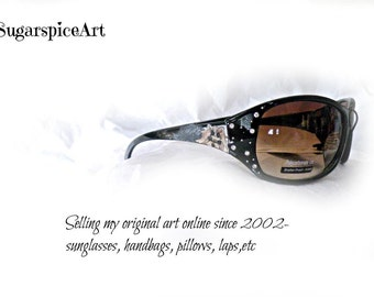 Yorkie Crystal Bling Hand Painted  Sunglasses
