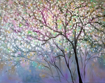 X-Large Painting oil -colorful   Lavender -grey - green  trees - White blossoms 40 x 30 - FREE SHIPPING in Us