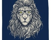 Wise Lion, Shower Curtain, Printed in USA