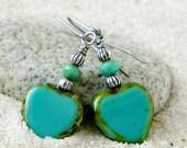 Hypoallergenic Earrings - Pure Titanium Earrings - Hypoallergenic Jewelry - Valentine Gift - Turquoise Earrings - Beaded Dangle Earrings