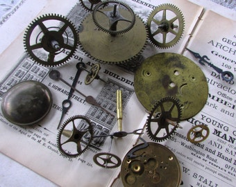 16 Vintage Clock Parts..GEARS..Mixed media.Alter..Steampunk