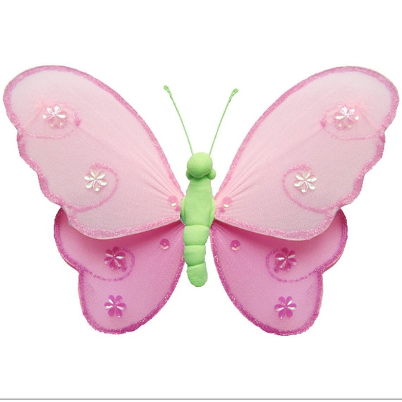 Butterfly decoration nylon butterflies decor fabric hanging for Baby shower decoration butterfly