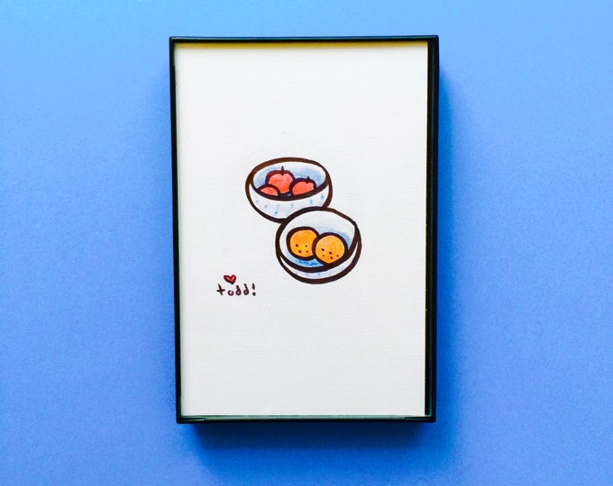 Art, Fruit Bowls, 4 x 6 inch Print, ink and crayon drawing, apples and oranges