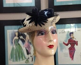 Sale 1940s hat navy blue hat patent leather hat 40s hat derby hat Vintage hat Austelle hat