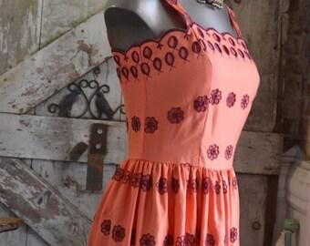 Sale 1970s sundress 70s maxi dress embroidered dress size small Vintage dress sleeveless dress