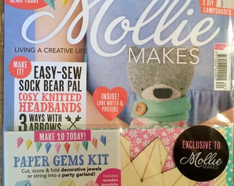 Mollie Makes Magazine - Snuggle Up - Issue 62 - With Paper Gems Kit - 11.00 Dollars