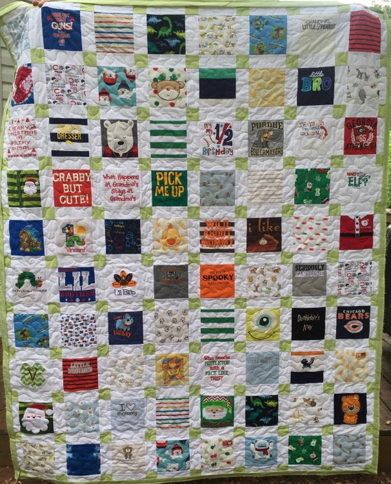 RESERVED for Leslie BABY CLOTHES Quilt Twin Size Bed Heirloom Memory Quilt Custom Order - Using Your Baby Clothes