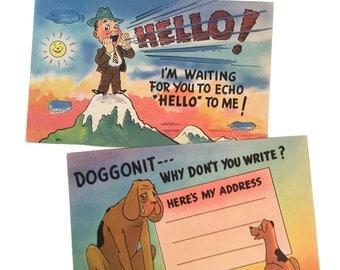 2 Vintage Comic Postcards Imploring People to Write.