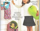 """Kwik Sew 3909 Childrens and 18"""" 45cm Dolls Sleeping Bag Doll Carrier Sewing Pattern NEW"""