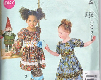 Mccalls 6594 Girls Dresses Belts Pants Ruffles and Lace Treasured Collection Sewing Pattern Sizes 2-5 Out of Print UNCUT