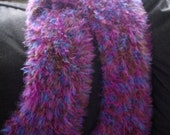 "New Handmade Knit Hot Pink, Fuchsia, Blue, and Brown Eyelash Infinity Scarf - 7"" x 72"""