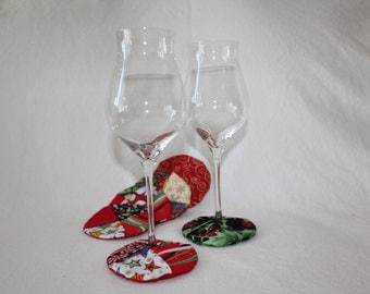 Jolly Holiday Fabric Wine Coasters set of 6