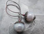 gray earrings, gemstone earrings,brass flower earrings, gray agate earrings, dark brass earrings, gift for her, gift for mom, round stone