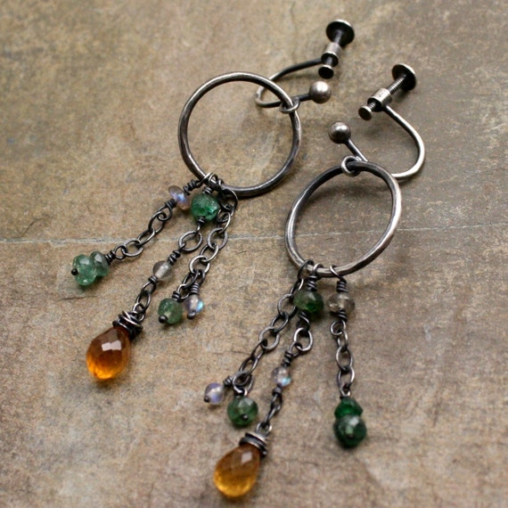 LISTING for Peachandpolly   Demeter Earrings in Emerald, Hessonite Garnet, Labrodorite and Sterling Silver with Screw Clips