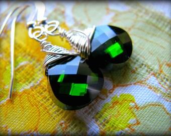 Green Swarovski Crystal Dangle Earrings - Forest Emerald Sphinx Sterling Silver  Gift Birthday Daughter Girlfriend Sister Best Friend Mother
