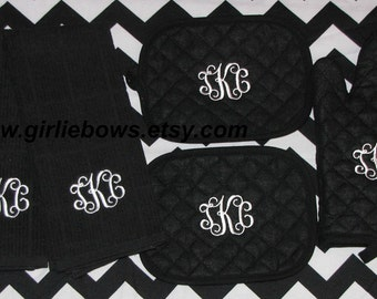 Custom Personalized Monogrammed Personalized Oven Mitts, Pot Holders, Kitchen Towels