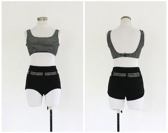 60s stripe bikini   vintage 1960s high waist black & white swimsuit   vtg bathing suit   small