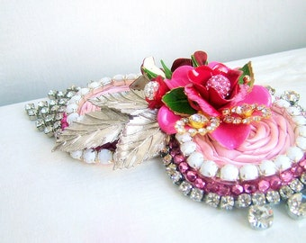 Strawberries and Cream - OOAK hairband - Ready to ship x