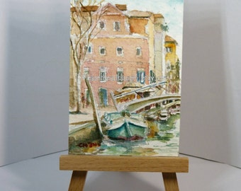 Venice, Italy, canal, Aceo, atc peinture, miniature painting, landscape, id1330181, original watercolor, not a print, wallart